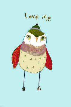 Love Me limited edition art print by Ashley by AshleyPercival, $30.00 owl art, owl, owls, owl prints, kids art, decor, wall art, illustrator, illustration,