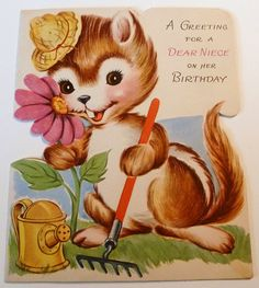 Vintage Chipmunk Gardening Greeting Card by MissConduct*, via Flickr