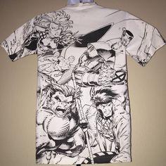 90s Vintage X-Men Shirt Wolverine Marvel Comics All Over Print 1990s Artwork