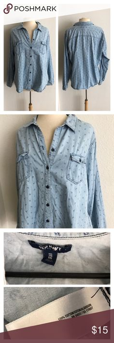 "Old Navy anchor print chambray button down Old Navy chambray button down. Anchor pattern. Size XXL. Measures 27"" long with a 46"" bust. No stretch. Very great used condition!  💲Reasonable offers accepted  ✅Bundle offers Old Navy Tops Button Down Shirts"