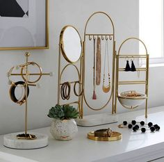 Marble and Gold Jewelry Holder Screen - Decor - Jewelry + Beauty Organizers - . - Marble and Gold Jewelry Holder Screen – Decor – Jewelry + Beauty Organizers – - Jewellery Storage, Jewellery Display, Jewelry Organization, Necklace Storage, Dresser Top Organization, Jewellery Shops, Jewellery Box, Necklace Set, Jewelry Stores