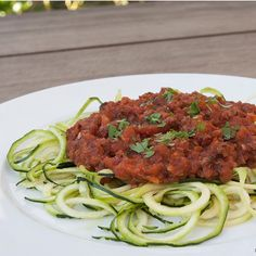 """""""KAY'S MEAT SAUCE WITH ZUCCHINI NOODLES Another one of my wife's amazing creations. Not sure how she came up with this one…as it's not your traditional way of making an Italian meat sauce. But it's thick, hearty and meaty and it's super quick to make. How many great tasting homemade meat sauce recipes do you know that take less than 20 minutes to cook? I can't think of one.  To make the zucchini noodles, you'll need a vegetable spiral slicer.  I'd tell you which one I have but it's from…"""