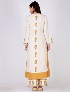 Beige Block-printed Khadi Kurta with Cotton Lining (Set of 2)