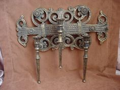 Vintage Homco Triple Candle Wall Sconce Darkened Gold tone Castle Gothic 1978