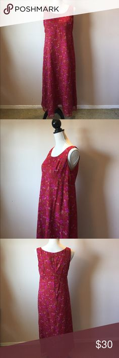 "Silk Floral Dress Beautifully colored silk dress for all seasons. Sheer Floral. Fully lined with a hidden back zipper. Empire waist accentuates the best and is loose around the midsection. Dress and lining are both 100% silk dryclean on tag. Tag also notes a 2 piece set, but only the dress listed is for sale. Measurements hanging from top of shoulder to hem is 47.5"" armpit to armpit across is about 19"" Dress is Petite, but can also be tea length for 5'4"" and taller ladies 🚫No Trades…"