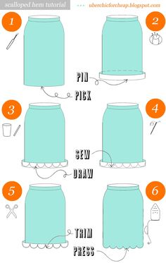 Über Chic for Cheap: Tutorial: Scalloped Hem Skirt {want to try this for a bedskirt.  Really like the scallop edging.