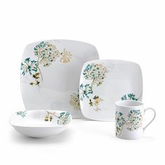 Square Teal  4 Piece Place Setting