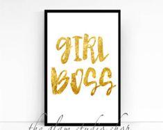 "Motivational Print Gold Print ""Girl Boss"" Wall Decor Home Decor Gift Idea Fashionista Woman Typography Print Inspirational Print"