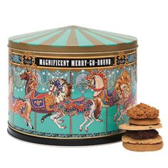 Merry Go Round Musical Tin. This magical tin will bring back happy memories of childhood carousel rides, especially as it plays the lilting melody of 'La Traviata' while it gently revolves. Inside is a feast of fabulous biscuits in seven different flavours, including our Clotted Cream Digestive Biscuit, Luscious Lemon Thins and Chocolate & Macadamia Nut Biscuits.