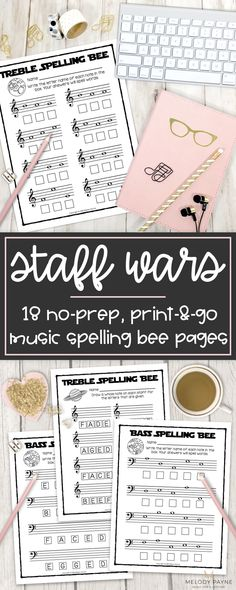 Your music students will LOVE these space-themed printable musical spelling bee worksheets! Review notes on the treble and bass staff in a fun way with Staff Wars worksheets. Great for any age music student who loves Star Wars and outer space. Perfect for piano classes, center work, rotations, workstations, stations, group lessons, music camps, the sub tub, piano lessons, and much more. Treble clef worksheets; bass clef worksheets