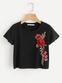 Shop Embroidered Applique Crop Knit T-shirt online. SheIn offers  Embroidered Applique Crop Knit T-shirt more to fit your fashionable needs. T -shirt cea909ca423