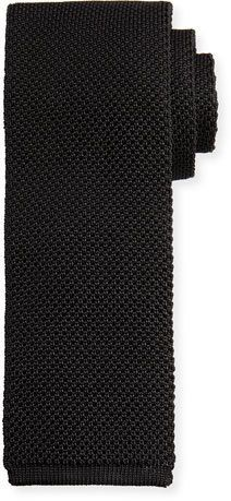 Tom Ford Solid Open-Weave Knit Tie, Blue