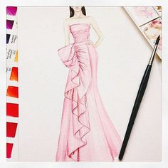 marchesafashionPink perfection. X This #Resort16 painting is by @jianlin_huang. Tag your Marchesa-inspired work with #marchesafanfriday for a chance to get it featured on our account. #marchesa @georginachapmanmarchesa @kerencraigmarchesa