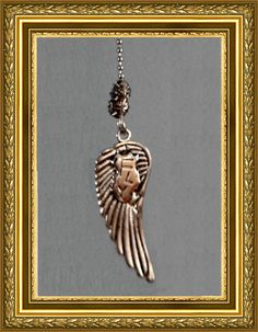 """Angel Wing Fan Pull / Home Decor - Silver Chain - Silver Wing """"Fly"""""""