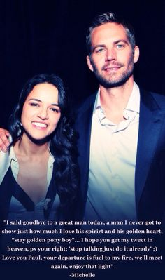 Michelle Rodriguez on Paul Walker