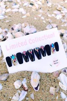 Available in many shapes and sizes! Custom made! Check it out at TheNailMaster.etsy,com or simply click on the image. <3 #pressonnails #glueonnails #stickonnails #fakenails #falsenails #nailart #blacknails #naildesign #acrylicnails Stick On Nails, Glue On Nails, Best Press On Nails, Black Press, Nail Jewels, Artificial Nails, Black Nails, Fashion Pictures, Stones And Crystals