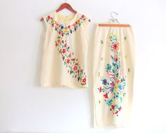 Vintage 70's  Bohemian Hand Embroidered Skirt by NifticVintage