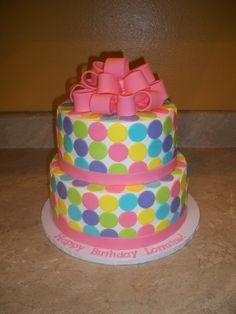 Pastel Modern Polka Dot Cake By cakesbykayla on CakeCentral.com