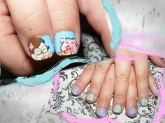 """Some characters from the tv show """"Gravity falls"""" that I painted on my sisters nails."""