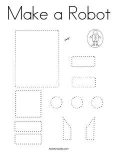 Make a Robot Coloring Page - Twisty Noodle Preschool Worksheets, Kindergarten Activities, Learning Activities, Preschool Activities, Kids Learning, Physical Activities, Dementia Activities, Cutting Activities, Fine Motor Activities For Kids