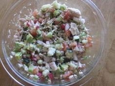 From The South Beach Diet Book, this salad is very fresh and light, but still filling. The flavor of the veggies is enhanced by the tangy dressing.