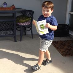 """James loved his """"froggy"""" 3rd birthday card all the way from his Herne Bay family..."""