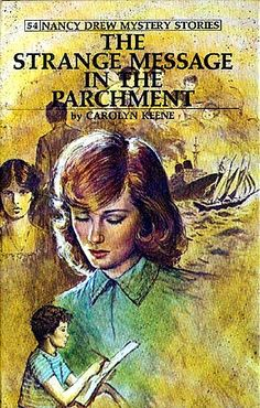 ND#54. 1977 cover art. A sheep farmer receives a mysterious telephone call after he buys a series of pictures painted on parchment. He is told to decipher the message in the parchment and right a wrong. He asks Nancy to help solve this baffling mystery which soon involves a boy artist and a ruthless villain.