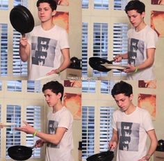 1: mini tom; 2: making pancakes; 3: wearing a Beatles shirt; and 4: moments :(