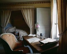 "Chateau de Sache. In this room Honore de Balzac (1799-1850) wrote his famous novels ""Le Pere Goriot"" and ""Le Lys dans la Vallee"". Room and furniture have remained unchanged."