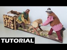 💡 TUTORIAL: Woodmen in movement while sawing a wood 🌲 - Statuette in movement ⚙️ - Nativity scene Firewood, Tutorial, Texture, Crafts, Youtube, Video, Craft, Christmas Staircase, Nativity Sets