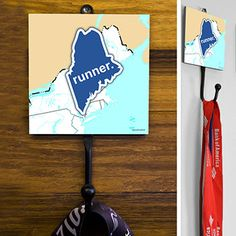 Maine State Runner Medal Hook - This GoneForaRUN exclusive Wall Medal Display is made from hand-forged steel and features a customized printed tile.  Showcase one special medal, or stack multiple medals on the hook for easy access.