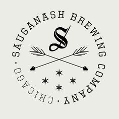 Sauganash Brewing Company Logo. Nice but does every logo have to look this now? Seriously, we need to put the arrows away now.