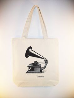 Vintage Gramophone Illustration on 15x15 Canvas Tote by Whimsybags, $12.00