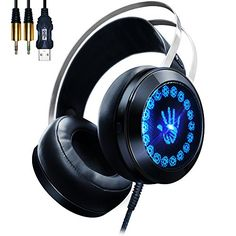 AOSO G400 Gaming Headset PC Over Ear Stereo Headphones with LED Breathing Light Noise Isolating Volume Control Built-in Microphone For PC