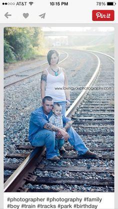 Family portraits train tracks