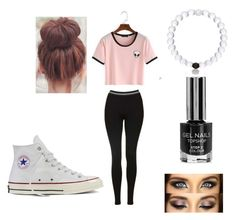 """""""Untitled #54"""" by stephanierenea14 ❤ liked on Polyvore featuring Topshop and Converse"""