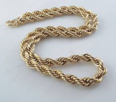 "Mens or Ladies French Rope 5mm Chain Necklace-14K Gold Overlay~16"" Free Gift Box"