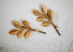 Gold Branch Hair Accessories Bobby Pin Set Gold Leaf Woodland Wedding Golden Leaves Fairy Faerie Nature Garden Wedding Bridal
