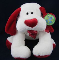 Walmart White Plush Stuffed Puppy Dog Animal Red Heart Nose Feet Save Our Planet | eBay