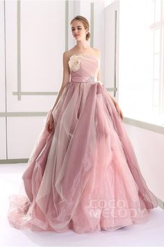 Usd 392 Chic A Line Strapless Natural Tulle Veiled Rose Sleeveless Lace Up Corset Wedding Dress With Ribbons Jul015002