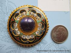 1890s Enamel Button with inner border of pastes, a middle border of enamel, and an outer border of gilded spheres.