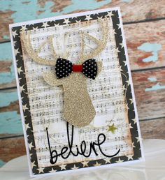 Believe Card by Glass Half Full.  This shiny card was made using Heidi Swapp and glitter cardstock.  For gold glitter cardstock, try American Crafts - Gold - in stock at www.cardstockshop.com.