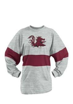 Royce South Carolina Gamecocks Colorblock Oversized Long Sleeve Tee Shirt - Gray