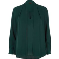 River Island Green 2 in 1 blouse ($39) ❤ liked on Polyvore featuring tops and blouses