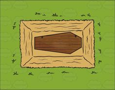 The View Of A Coffin In The Ground From Above #burial #bury #coffin #dead #death #grass #grave #grave-site #ground #wooden-coffin
