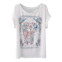 Elephant Floral Print White T-shirt | pariscoming