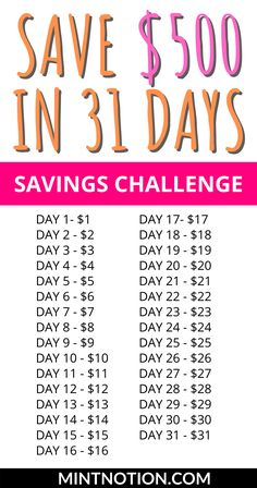 Savings Chart, Savings Plan, Money Budget, Money Plan, Saving Money Chart, Money Saving Tips, Savings Challenge, Money Saving Challenge, How To Save Money