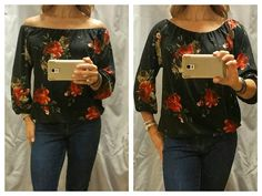 Love the feminine floral print of this top and it's oh so soft! Can be worn on or off the shoulder...go from office to a night out! #newarrival #versatile #veronicam #boutiquepaisley