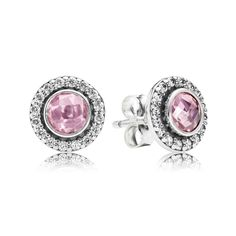 Pandora Studs Brilliant Legacy with Pink & Clear CZ Earrings - 290553PCZ