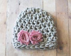 Sombrero de la muchacha recién nacida, bebé niña sombrero, muchacha del sombrero del ganchillo, gris y sombrero rosa, fotografía recién nacido Prop, gorrita tejida del bebé, muchacha gorro, sombrero recién nacido niña
